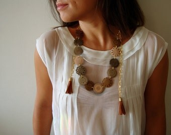Patent Leather Necklace with Autumn Flowers and Tassels- Gold