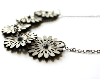 Tiny White Leather Flower Necklace With Sapphire Gems