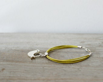 Yellow Leather Bracelet with Sterling Silver Bird