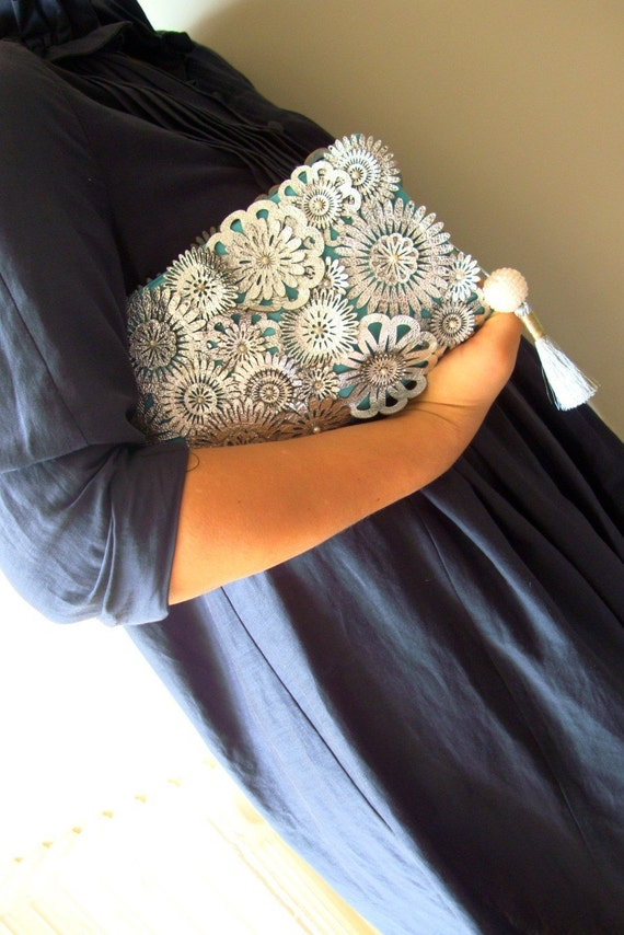 Beautiful Clutch with Leather 'Silver Flowers'