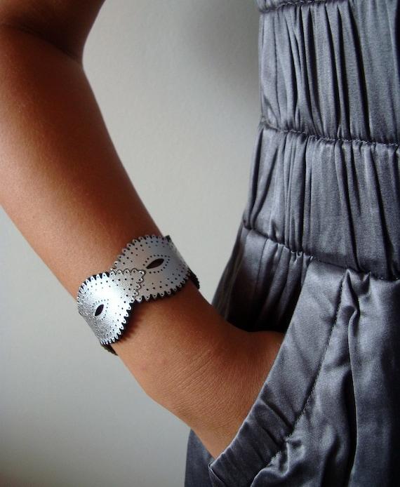 Silver Leather Braid Cuff