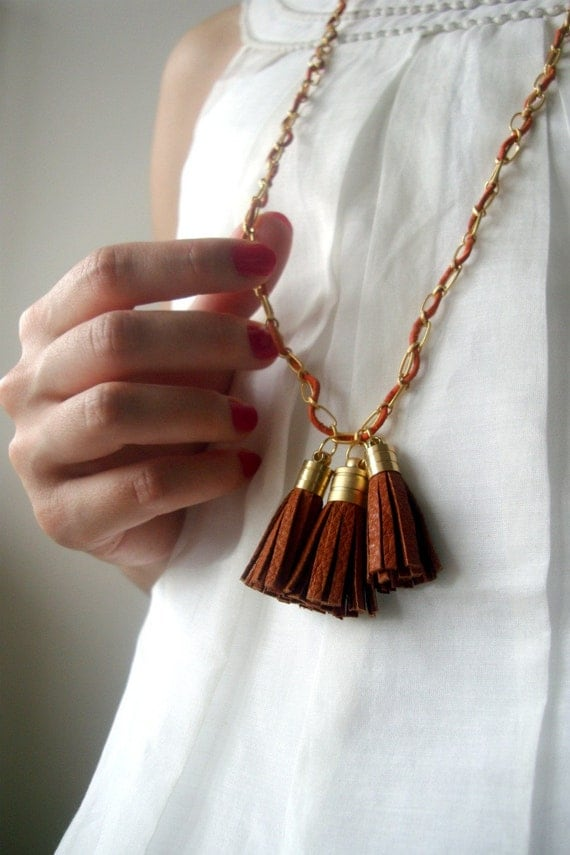 Necklace with Brown Leather Tassels