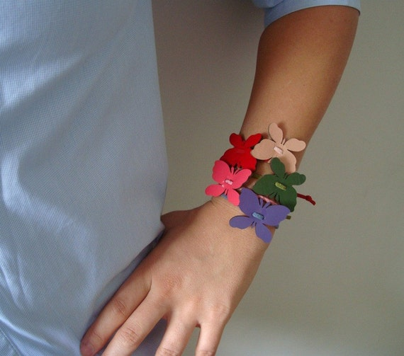 Patent Leather Bracelet with Butterflies in Colors