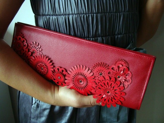 SALE---- LAST ONE-- Beautiful Leather Clutch with 'Red Flowers on Bottom' Expedite Shipping