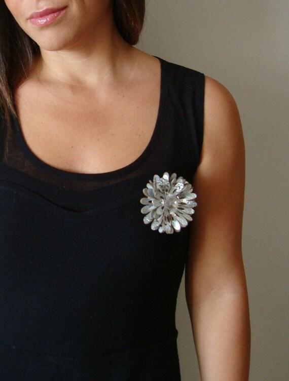 Silver Leather Flower Brooch
