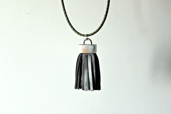 Necklace with Big Gunmetal Leather Tassel