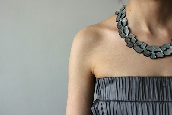 Leather Flower Row Necklace with Sterling Silver Chain and Jade Stones