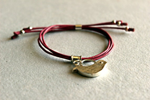 Leather Bracelet with Sterling Silver Bird