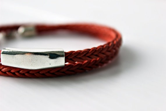 Tangerine Leather Bracelet with Sterling Silver Tube