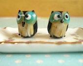 1 piece Lampwork Owl Beads, Glass Owl Beads, Owl Beads, Blue, Tan, Black