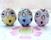 Porcelain Owl Beads - 5