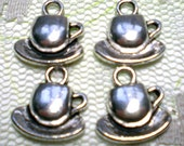 Silver Teacup Charms Pendants - 4