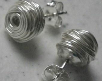 Hill Tribe Silver Coiled Wire Post Earrings