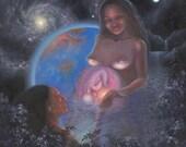 "Visionary Art -  ""Quantum Regeneration: Waterbirth"" - giclee canvas - Sacred Geometry - Lemurian Diamond - cosmic birth - psychedelic - Bibi"
