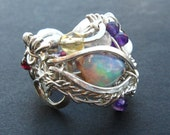 Opal Dragon Ring - Dragon Eye ring, exquisite statement piece, intricate,  Eye of Horus, genuine opal