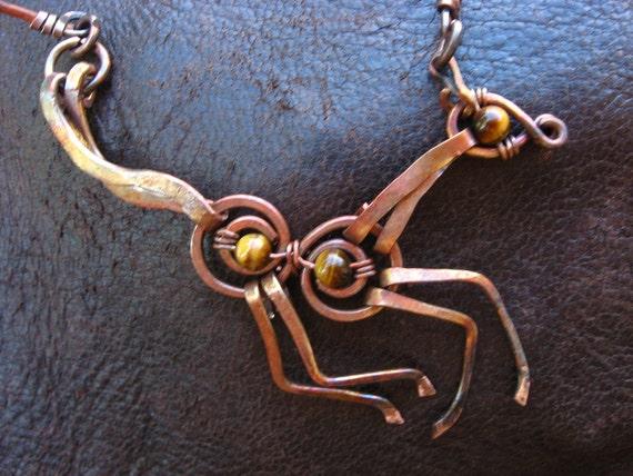 Joy Horse Puppet necklace - Frisky Baby Horse pendant - Ethiopian Opal or Tiger Eye -  wild colt animal, Lemurian Diamond, Bibi