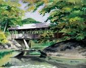 Artist's Bridge, September - Open edition print of an original watercolor (fits 11x14 frame)