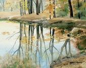 Reflecting Pool - Open edition print of an original watercolor (fits 11x14 frame)