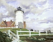 Nobska Light, Cape Cod - Open edition print of an original watercolor (fits 11x14 frame)