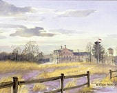 Laudholm Farm, Wells Maine - signed, limited edition print of an original watercolor (fits 11x14 frame)