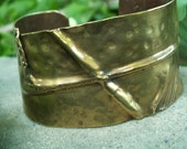 OK Fold II  -:- Fold form cuff in OK gold, hammered, textured, aged finish. Modern-Bold-Edgy-Trendsetter-Abstract-