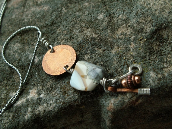 Charmed Luck -:- SALE Copper & pale blue agate charm necklace. Sterling silver snake chain. Earthy-Rustic-Healing-Zen-Organic