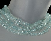 "Aquamarine Rondelles, Faceted Aquamarine, Pale Blue, Rondels, Roundels,  Larger Rondelles - 4.5 to 5mm - 14"" Strand"