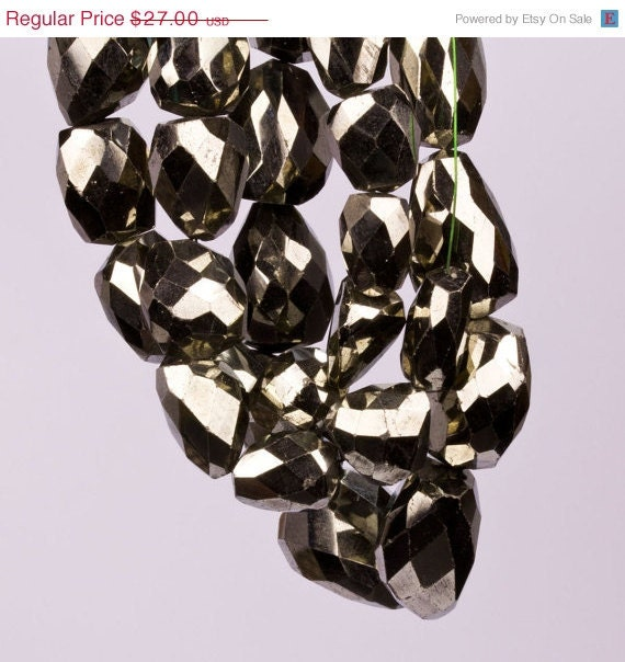 ON SALE Huge Faceted Pyrite Nuggets  - Fools' Gold - 1/2 Strand -