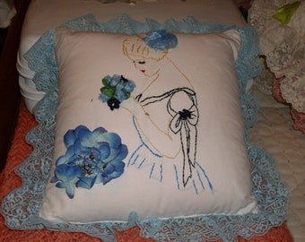 Victorian lady pillow in blue