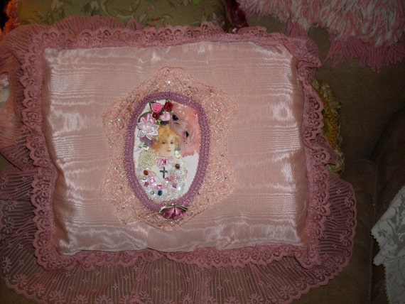 Pink lady with boa accent pillow