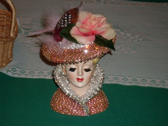 Pink Jeweled Lady Head Vase By Cindysvictorian On Etsy
