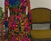 Vintage Psychedelic Print Long Sleeved Dress - Hello Marcia Brady