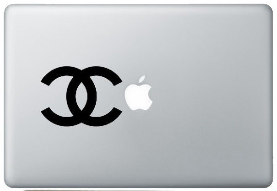 "Traditional CHANEL Logo (no text, 4"" wide) - Decal for 13"" Apple laptop Macbook"