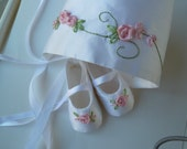 Christening Shoes and Bonnet . Baby Girl Shoes . White Dupioni Silk Christening Set with Pink Roses . Custom and Handmade