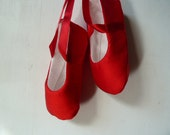Baby Girl Shoes . Infant Ballet Slippers .  Red Silk Slippers . Ruby Red Ballet Flats . Baby Ballerina . Dance Shoes