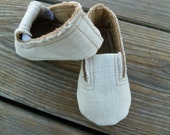 Baby Boy Shoes, Frayed Edge Natural Linen Deck Shoes, Custom and Handmade Baby Shoes