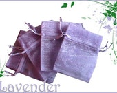 10 - 6x9 Sheer Lavender Organza Bags - Great for Party/ Shower favors- Sachets