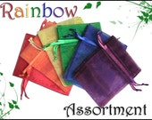 30 3x4 Sheer Classic Rainbow Assortment Organza  Bags - Drawstring  -Great for Party/ Shower favors- Jewelry -Sachets