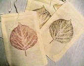 10 3x5 Large Aspen Leaf Unbleached Muslin drawstring bags/ pouches Great for Party favors Herbs Soaps etc WHOLESALE CRAFT SUPPLY