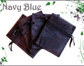 20 3x4 Sheer Navy Blue  Organza Bags - Great for Party/ Shower favors- Sachets