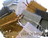 120 3x4 Sheer Organza Bags -  Metallic Assortment - Great for Party/ Shower favors- Sachets