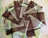 20 3x4 Sheer Mint Green and Chocolate Organza Bags - Great for Party/ Shower favors- Sachets
