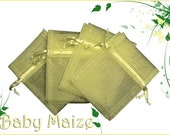 10 6x9 Baby Maize/ Yellow Organza Bags - Great for Party/ Shower favors- Sachets