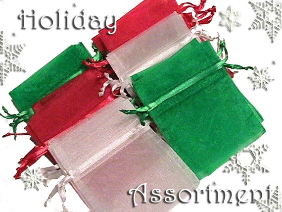 30 4x6 Sheer Holiday Assortment Organza  Bags - Drawstring  -Great for Party/ Shower favors- Jewelry -Sachets