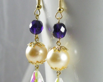 Purple and Ivory Gold Earrings