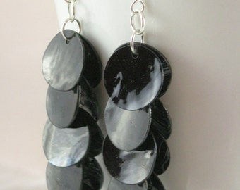 Black Shell Earrings on Silver Wires