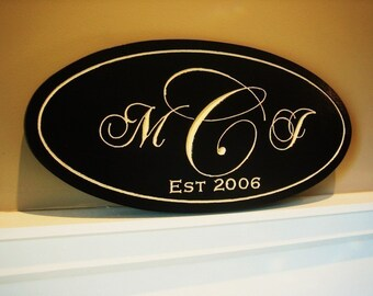Oval Carved and Painted Personalized Family Name Sign Plaque Monogram
