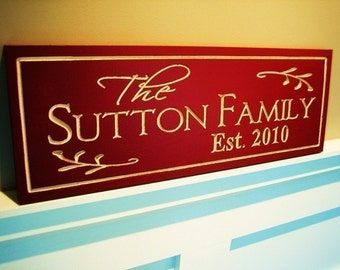 6x16 Carved Painted Personalized Family Name Sign Plaque