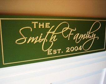 Family Name Sign Carved and Painted Personalized Family Name Sign Plaque 7x20