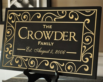 Personalized Family Name Sign Established Plaque Carved Engraved 11x18 FS